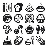 Bakery flat icons. Black — Stock Vector