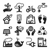 Ecology flat icons. Black — Stock Vector
