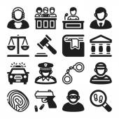 Law flat icons. Black — Stock Vector