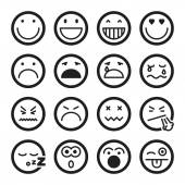 Smiley flat icons. Black — Stock Vector