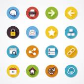 Web flat icons in a circle — Stock Vector