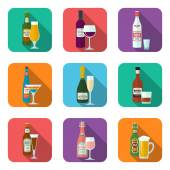 Alcohol bottles and glasses icons set — Stock Vector