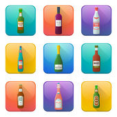 Glossy alcohol bottles icons set — Stock Vector