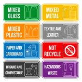 Color separated waste labels — Vettoriale Stock