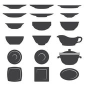 Plates And Dishes silhouette set — Stock Vector