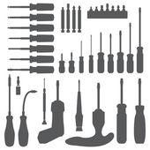 Various screwdriver silhouette set — Stock Vector