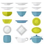 Flat design dinnerware set — Stock Vector