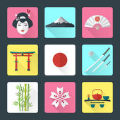 Flat japan icons set — Stock Vector