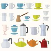 Flat style dinnerware cups mugs and pots set — Stock Vector