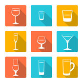 Flat alcohol glasses icons — Stock Vector
