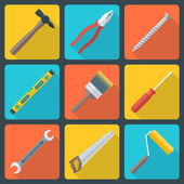 Flat house remodel tools icons — Stock Vector
