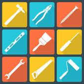 Flat white house remodel tools icons — Stock vektor