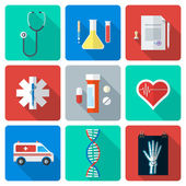 Flat style medical icons set — Stock Vector