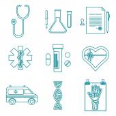 Outline medical icons set — Stock Vector