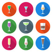 Flat solid colors alcohol glasses set — Stock Vector