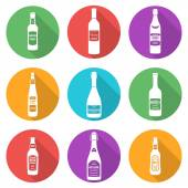 Flat style white silhouettes alcohol bottles icons set — Stock Vector