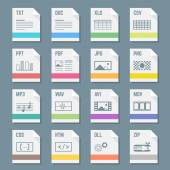 File formats icons set with illustrations — Stock Vector