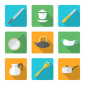 Flat style design dinnerware icons set — Stock Vector