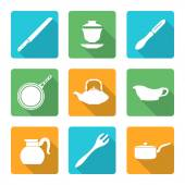 Flat style white dinnerware icons set — Stock Vector