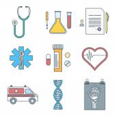 Outline color medical icons set — Stock Vector