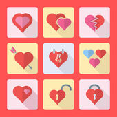 Various flat style heart icons set — Vector de stock