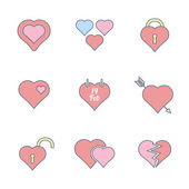 Various color outline heart icons set — Vettoriale Stock