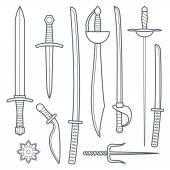 Vector cold weapons outline set — Stock Vector