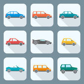 Colored flat style various body types of cars icons collection — Stock Vector