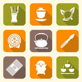 White color flat style chinese tea ceremony equipment icons set — Stock Vector