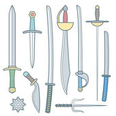 Vector cold weapons colored outline set — Stock Vector