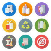 Flat design different waste recycle separate collection — Stock Vector