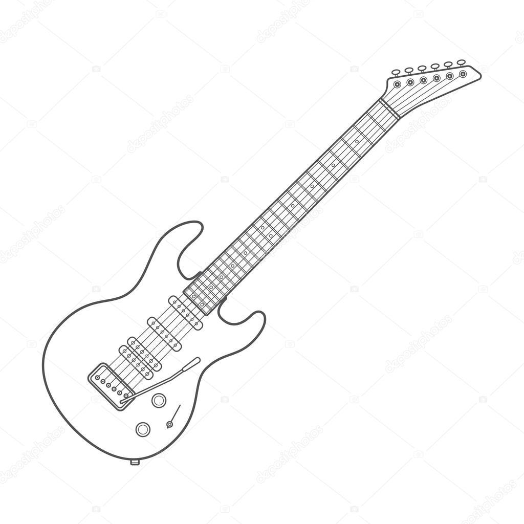 Contour Line Drawing Guitar : Ilustracja techniczna ciemny kontur gitara elektryczna