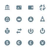 Solid grey various financial banking icons set — Stock Vector