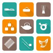Various white color flat style japan tea ceremony equipment icons set — Stock Vector