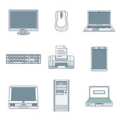 Colored outline computer gadgets icon — Stock Vector