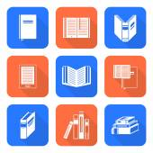 White color flat style books icons set — Stock Vector