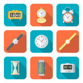 Colored flat style various watches clocks icons set — Stock Vector