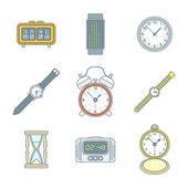 Colored outline various watches clocks icons set — Stock Vector
