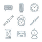 Dark outline various watches clocks icons set — Stock Vector