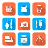 White color flat style square digital photography tools icons  — Stock Vector