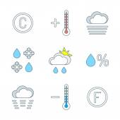 Colored outline weather forecast icons se — Stock Vector