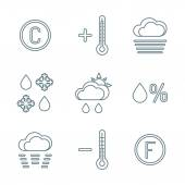 Dark outline weather forecast icons se — Stock Vector