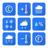 Colored flat style weather forecast icons se — Stock Vector