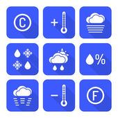 Solid white color flat style weather forecast icons se — Stock Vector
