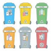 Colored outline separated garbage bins icons labels — Stock Vector