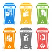 Various colors separated garbage bins solid icons labels — Stock Vector