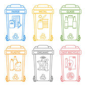 Various colors outline separated garbage bins icons labels — Stock Vector