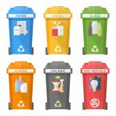 Flat style colorful separated garbage bins icons labels — Stock Vector