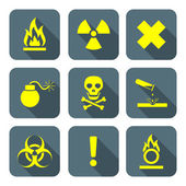 Bright yellow color flat style hazardous waste symbols warning s — Stock Vector