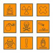 Orange square black outline hazardous waste symbols warning sign — Stock Vector
